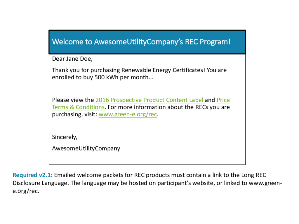 Welcome to AwesomeUtilityCompany's REC Program!...