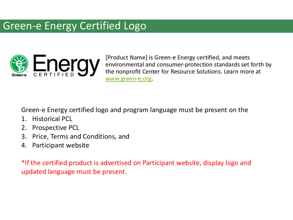 Green-e Energy Certified Logo [Product Name] is...