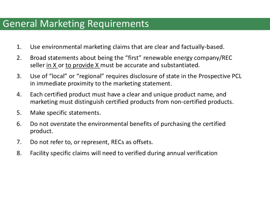 General Marketing Requirements 1. Use environme...