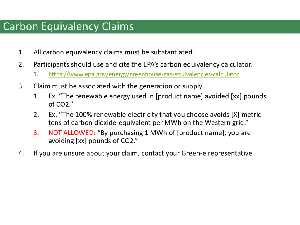Carbon Equivalency Claims 1. All carbon equival...