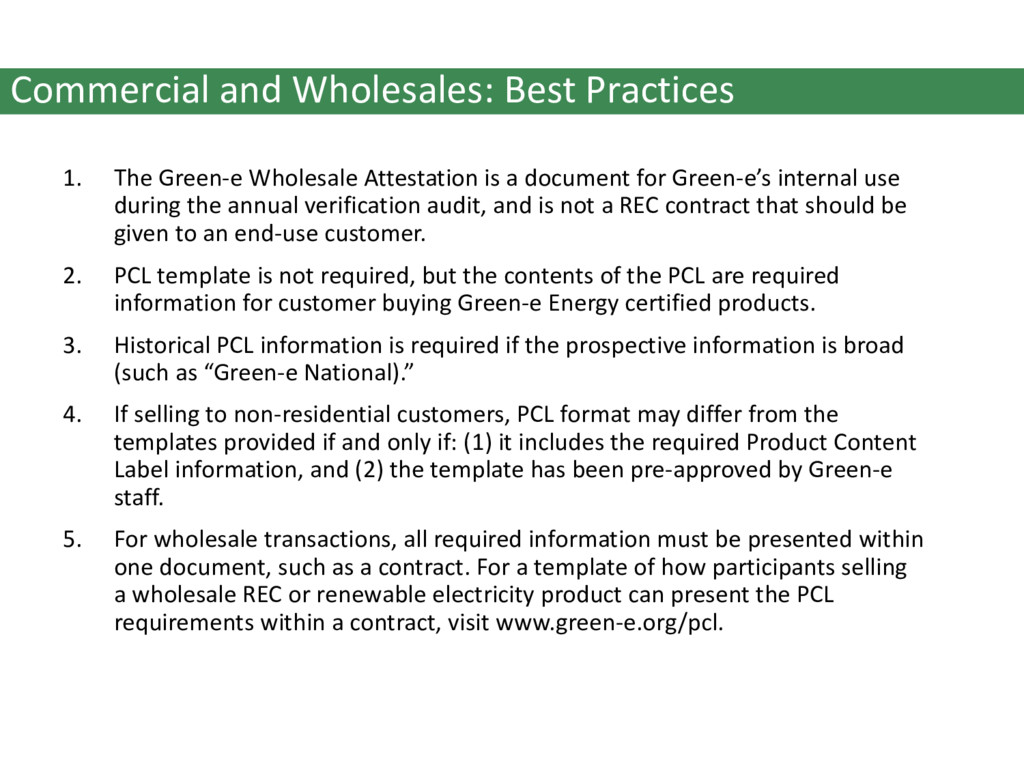 Commercial and Wholesales: Best Practices 1. Th...