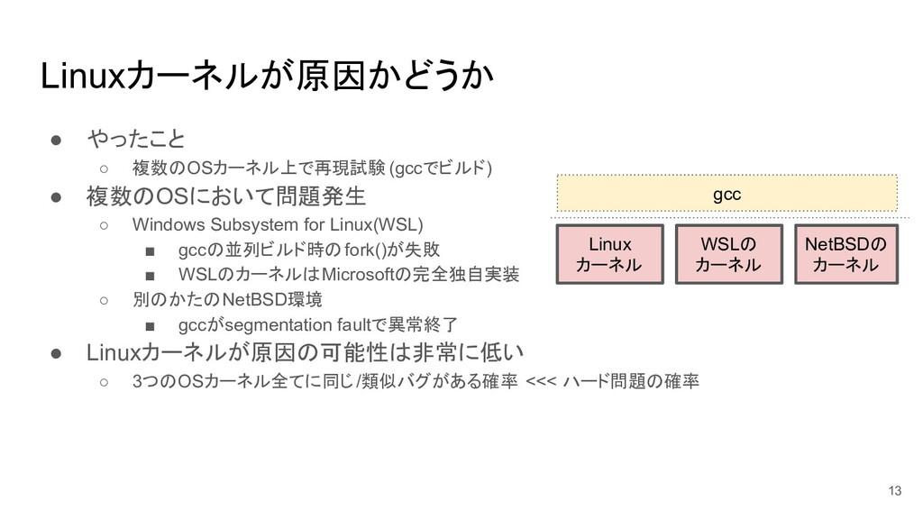 Linuxカーネルが原因かどうか ● やったこと ○ 複数のOSカーネル上で再現試験 (gcc...