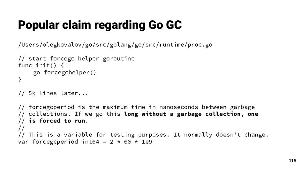 Popular claim regarding Go GC 115 /Users/olegko...