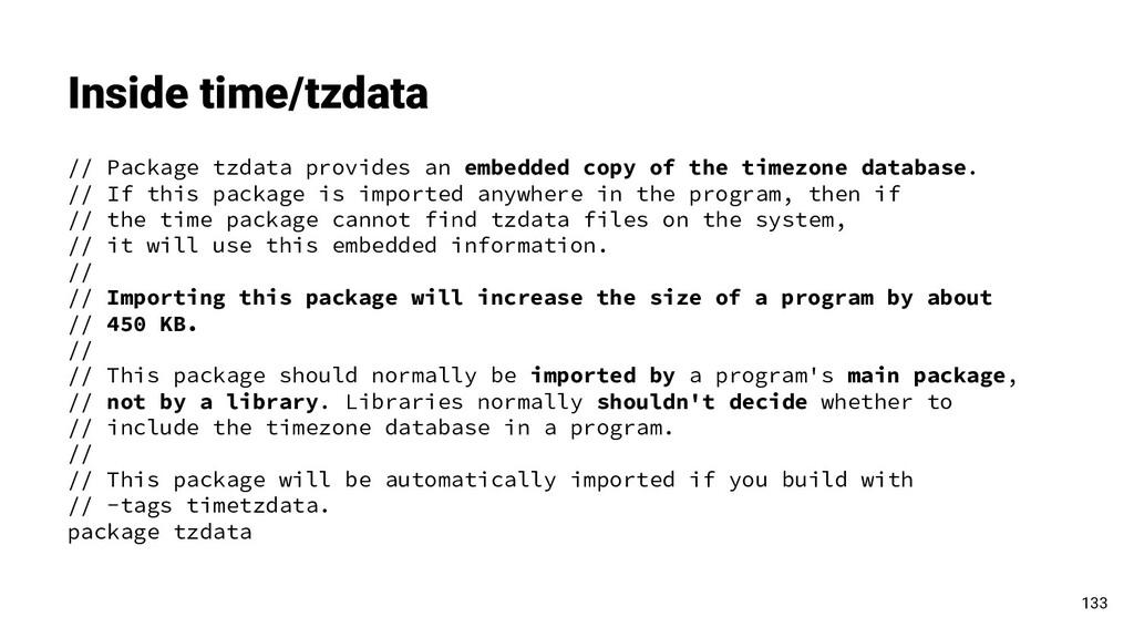 Inside time/tzdata 133 // Package tzdata provid...