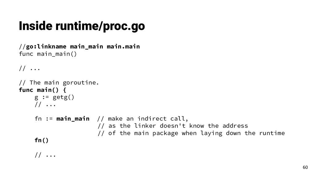 Inside runtime/proc.go 60 //go:linkname main_ma...