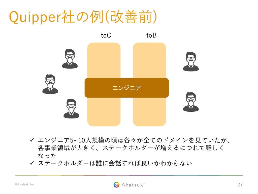 27 Quipper社の例(改善前) toC toB ü エンジニア5~10⼈規模の頃は各々が...