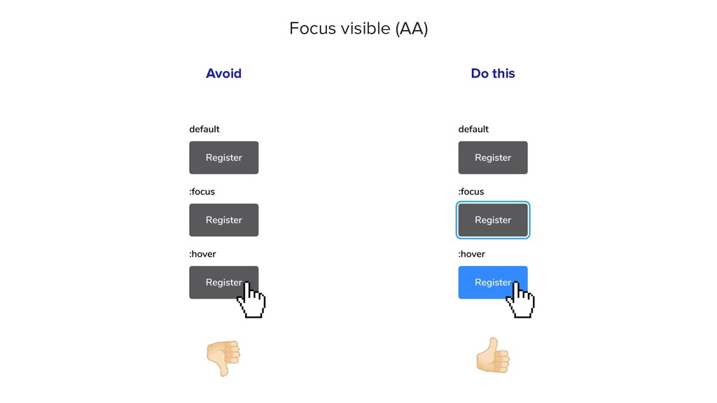 👎🏻 Avoid Focus visible (AA) 👍🏻 Do this