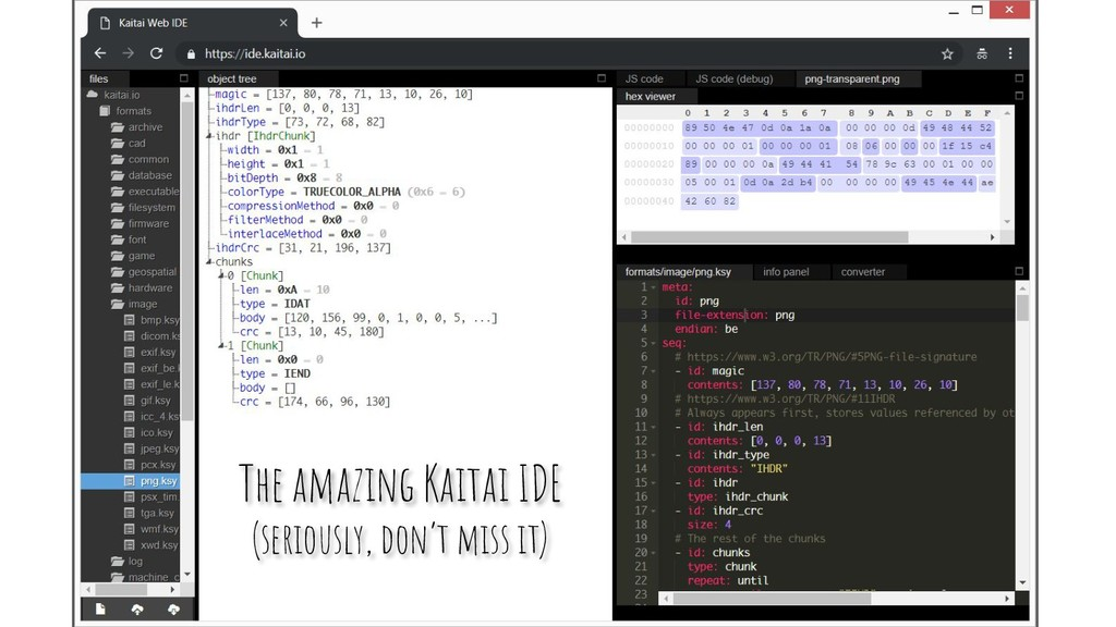 The amazing Kaitai IDE (seriously, don't miss i...
