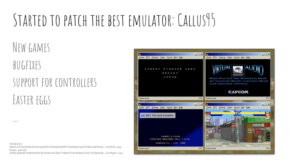 Started to patch the best emulator: Callus95 Ne...