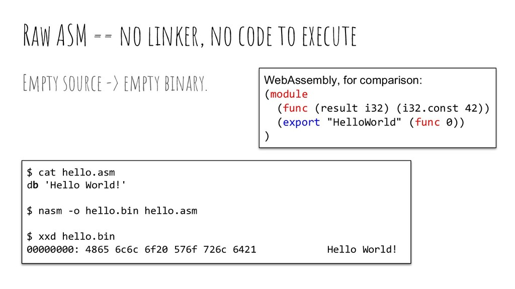 Raw ASM == no linker, no code to execute Empty ...