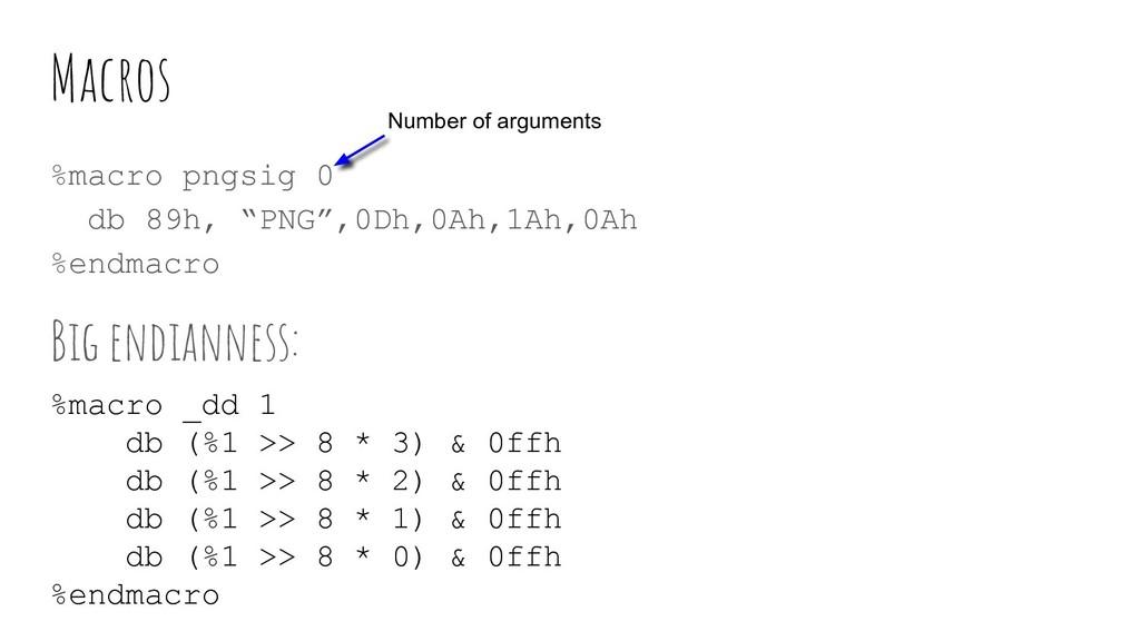 """Macros %macro pngsig 0 db 89h, """"PNG"""",0Dh,0Ah,1A..."""