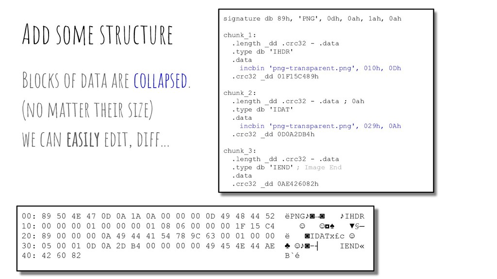 Add some structure Blocks of data are collapsed...