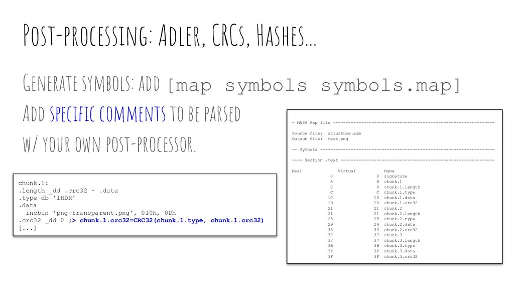 Post-processing: Adler, CRCs, Hashes... Generat...