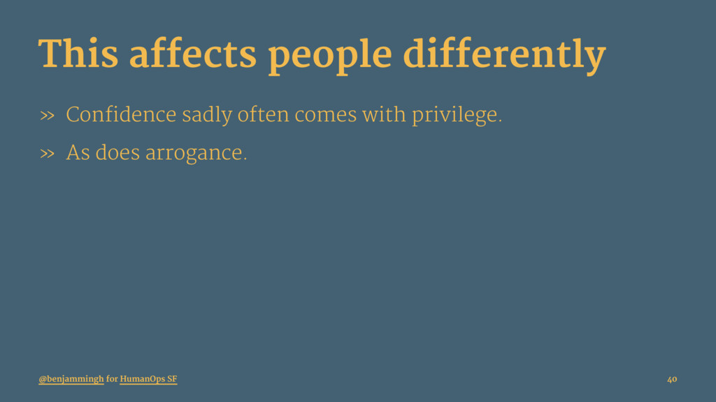 This affects people differently » Confidence sa...