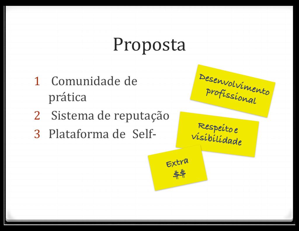 Proposta 1 Comunidade de prática 2 Sistema de ...