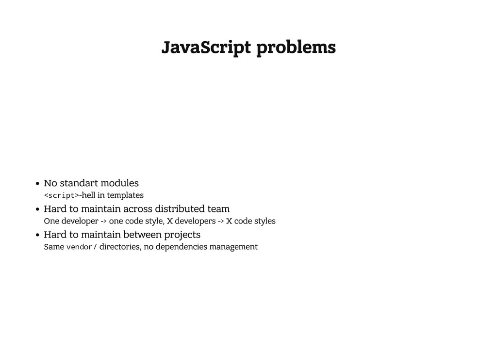 JavaScript problems No standart modules < s c r...
