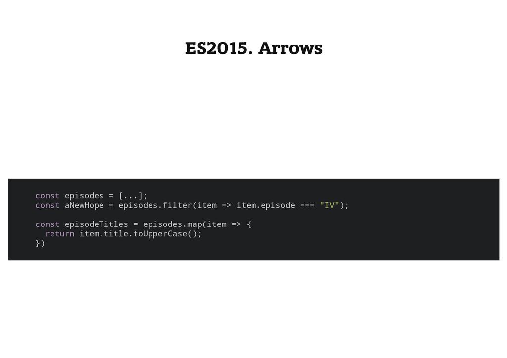ES2015. Arrows c o n s t e p i s o d e s = [ . ...