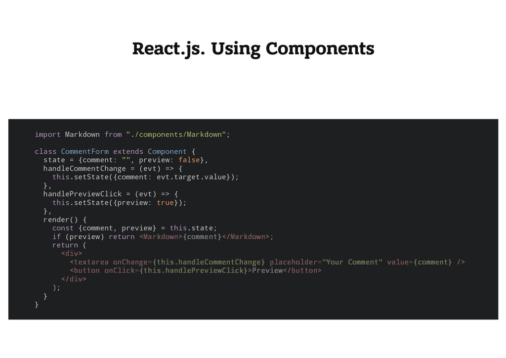 React.js. Using Components i m p o r t M a r k ...