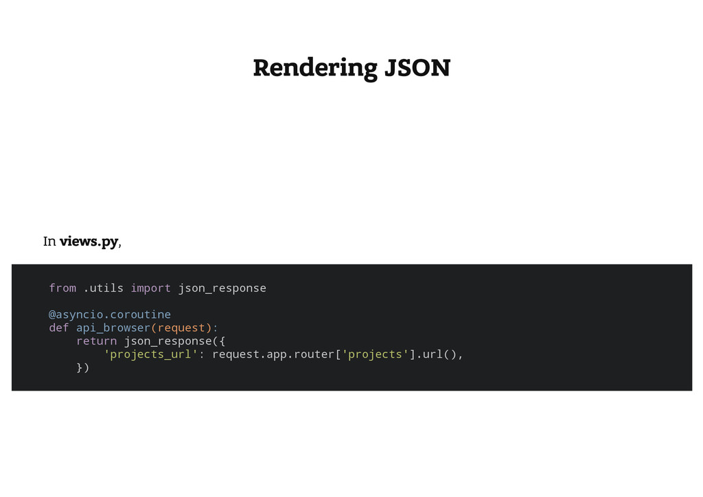 Rendering JSON In views.py, f r o m . u t i l s...
