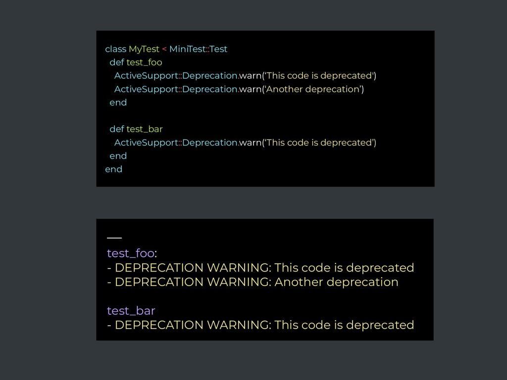 — test_foo: - DEPRECATION WARNING: This code is...