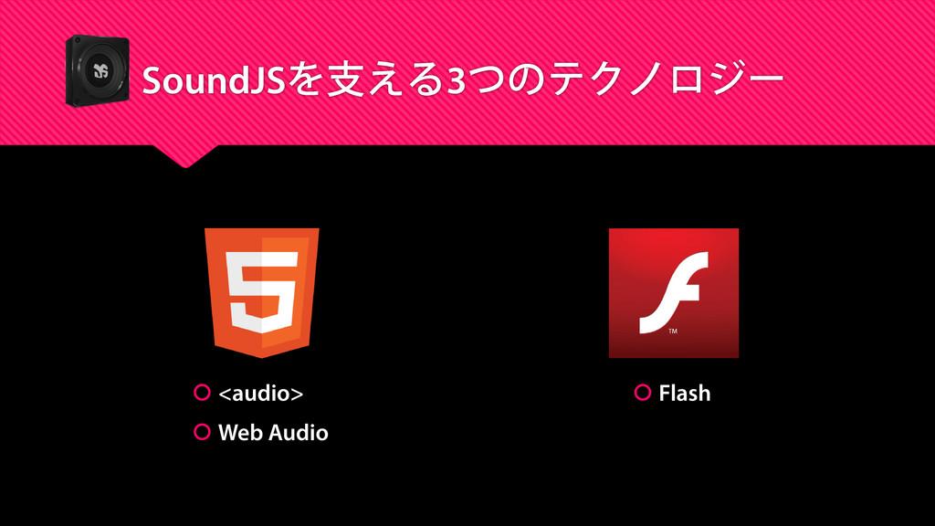 SoundJSを支える3つのテクノロジー  <audio>  Web Audio  Fl...