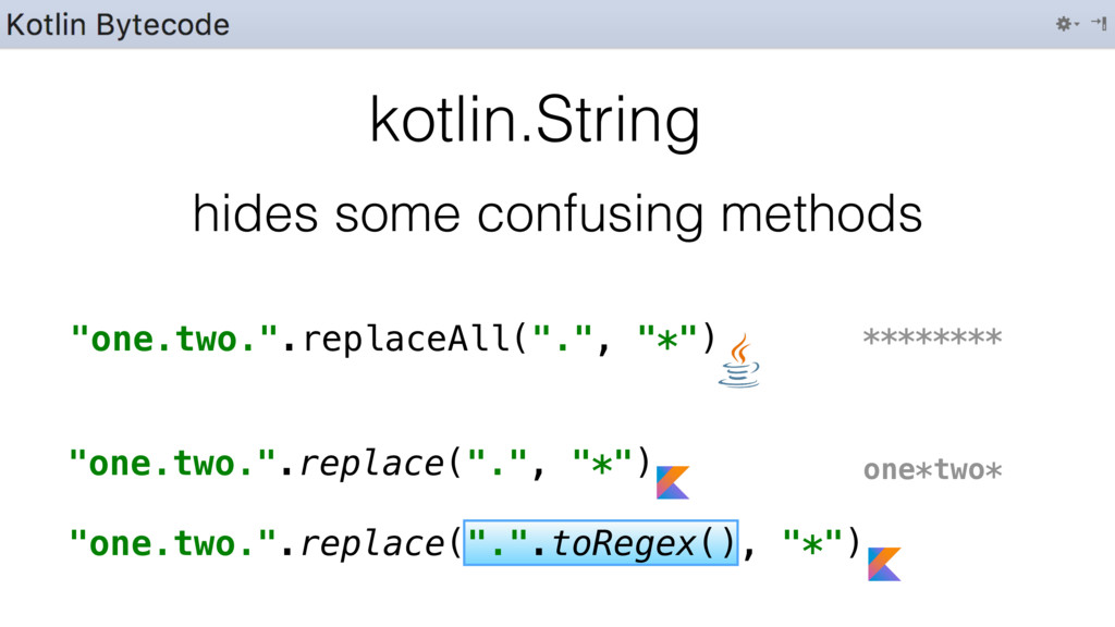 """""""one.two."""".replace(""""."""".toRegex(), """"*"""") kotlin.S..."""