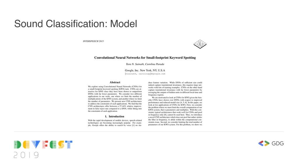 Sound Classification: Model