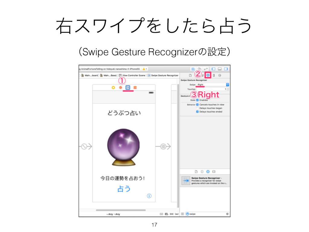 ӈεϫΠϓΛͨ͠Β͏ ʢSwipe Gesture Recognizerͷઃఆʣ 17