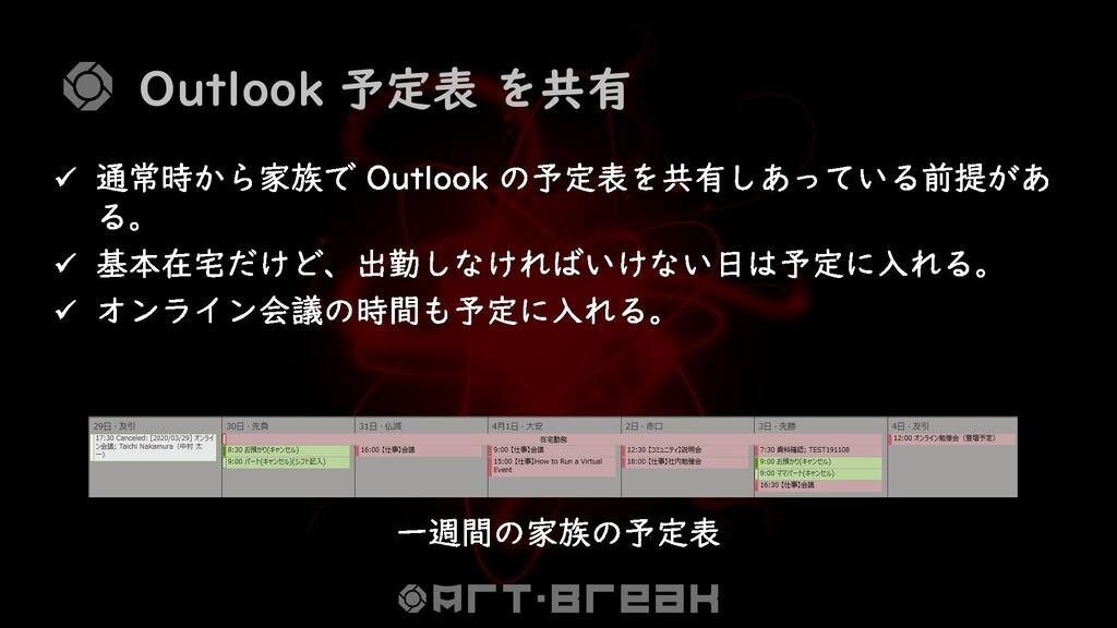 Outlook 予定表 を共有