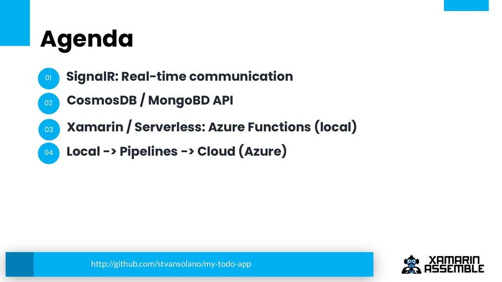 Agenda SignalR: Real-time communication CosmosD...