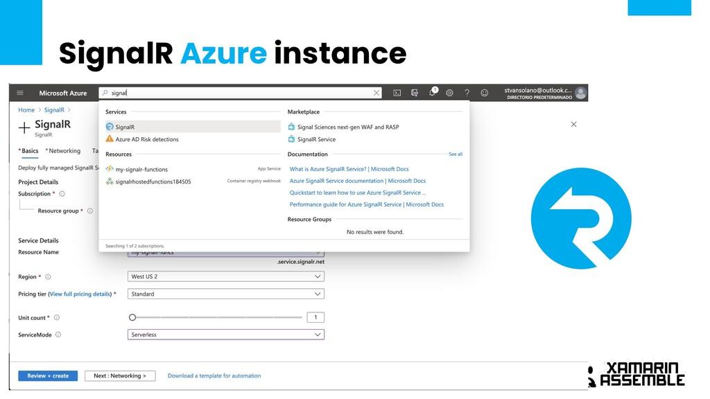 SignalR Azure instance