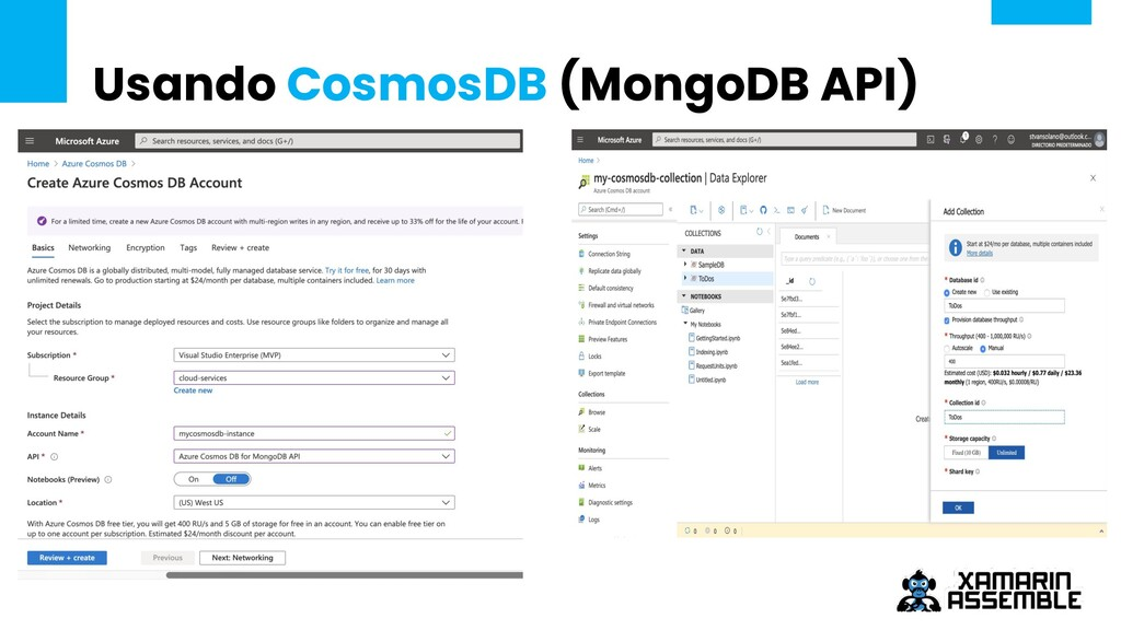 Usando CosmosDB (MongoDB API) Texto