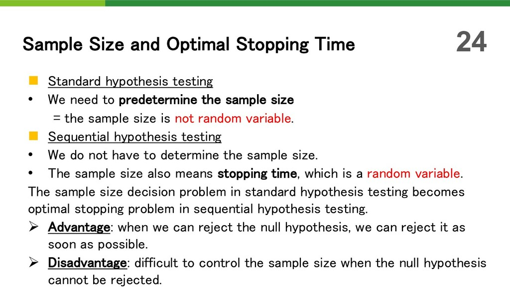 n Standard hypothesis testing • We need to pred...