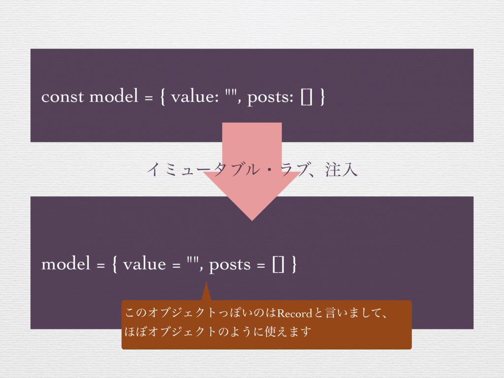 "const model = { value: """", posts: [] } model = ..."