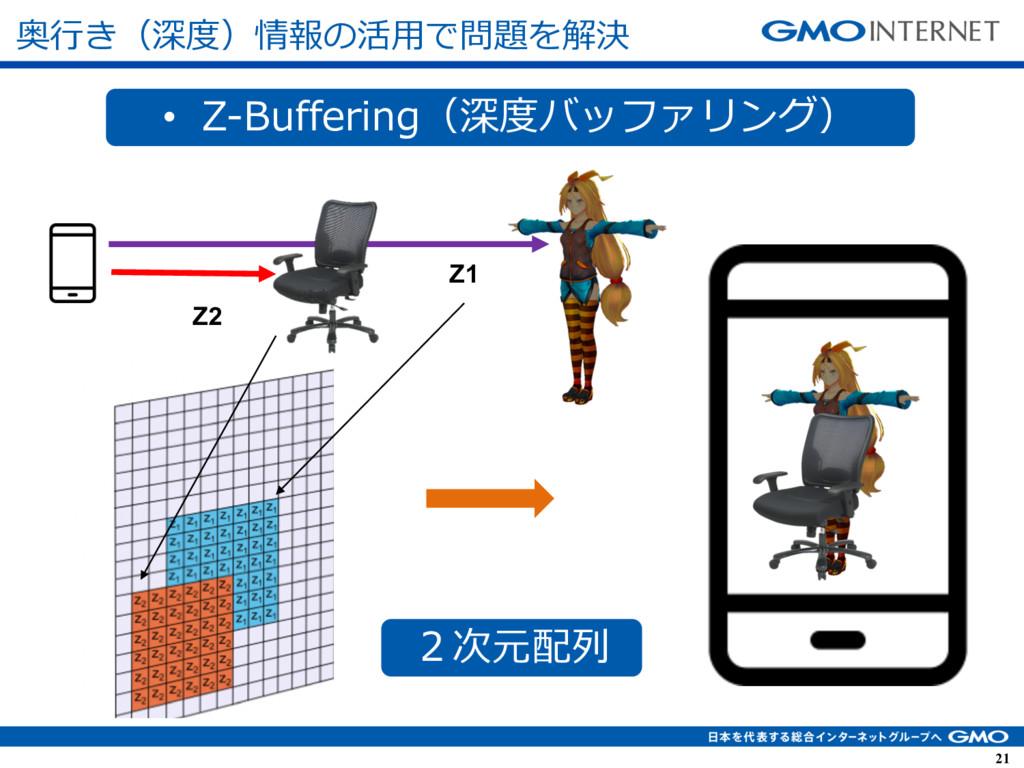 21 21 Z2 Z1 • Z-Buffering(深度バッファリング) 2次元配列 奥⾏き(...