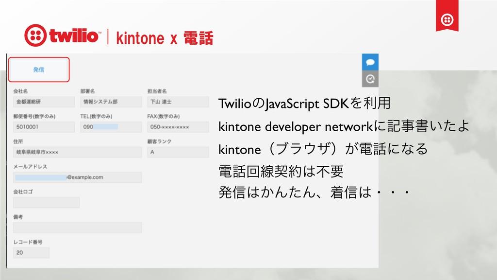 kintone x 電話 TwilioͷJavaScript SDKΛར༻ kintone d...