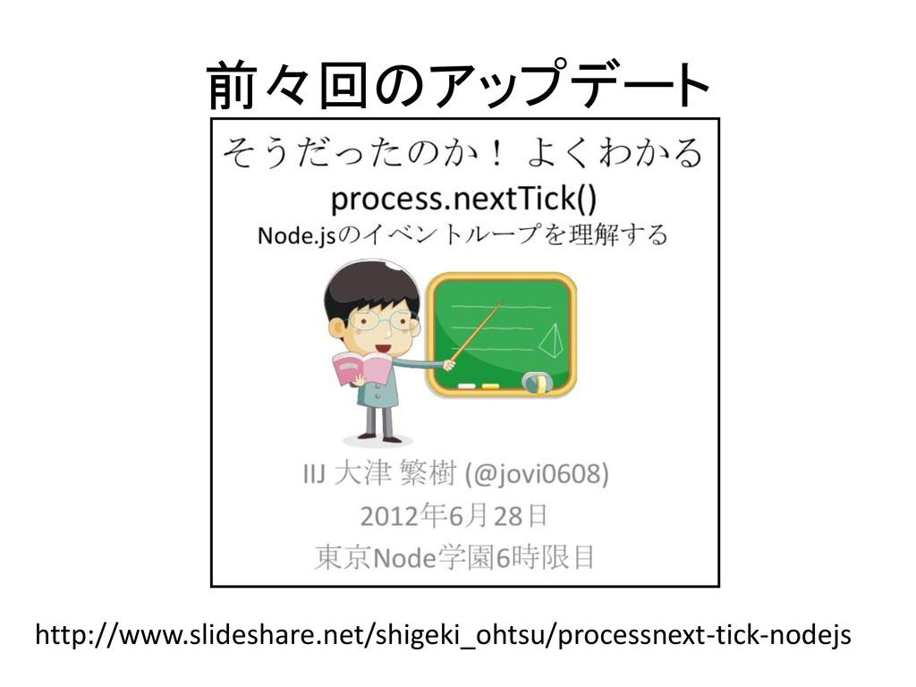 前々回のアップデート http://www.slideshare.net/shigeki_oh...