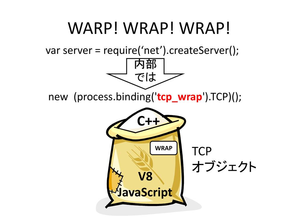 WARP! WRAP! WRAP! V8 JavaScript C++ WRAP var se...