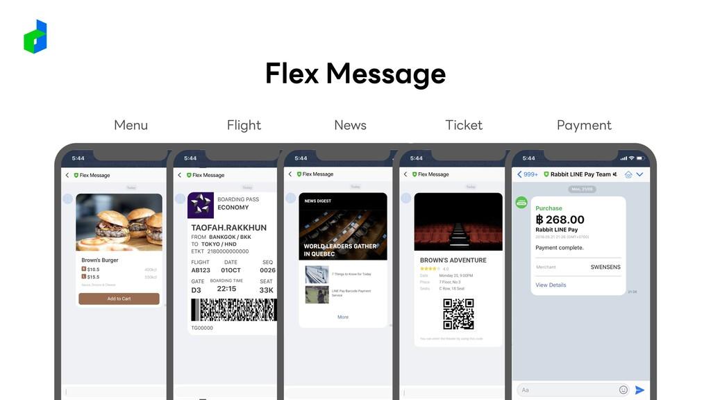 Flex Message Menu Flight News Ticket Payment