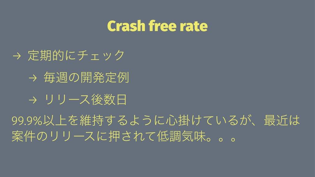 Crash free rate → ఆظతʹνΣοΫ → ຖिͷ։ൃఆྫ → ϦϦʔεޙ ...