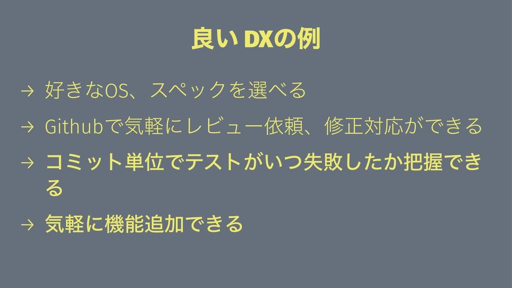 ྑ͍ DXͷྫ → ͖ͳOSɺεϖοΫΛબΔ → GithubͰؾܰʹϨϏϡʔґཔɺमਖ਼ର...