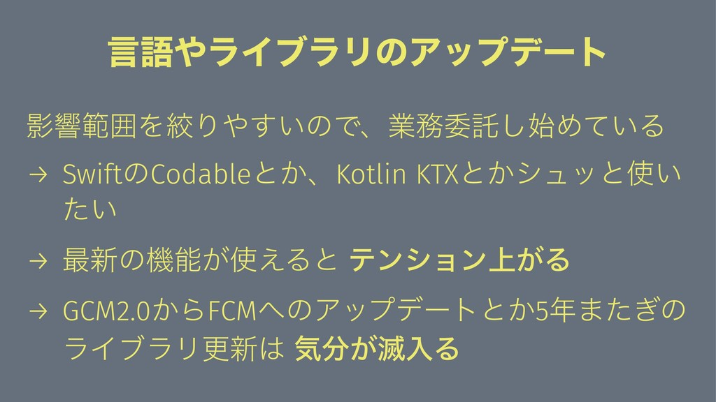 ݴޠϥΠϒϥϦͷΞοϓσʔτ ӨڹൣғΛߜΓ͍͢ͷͰɺۀҕୗ͠Ί͍ͯΔ → Swift...