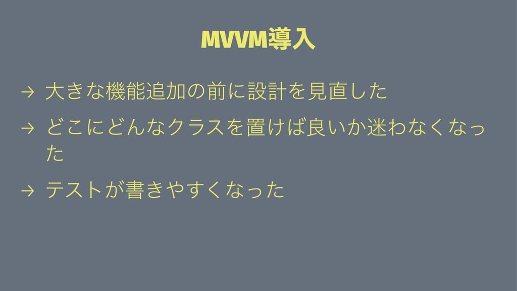 MVVMಋೖ → େ͖ͳػՃͷલʹઃܭΛݟͨ͠ → Ͳ͜ʹͲΜͳΫϥεΛஔ͚ྑ͍͔Θ...