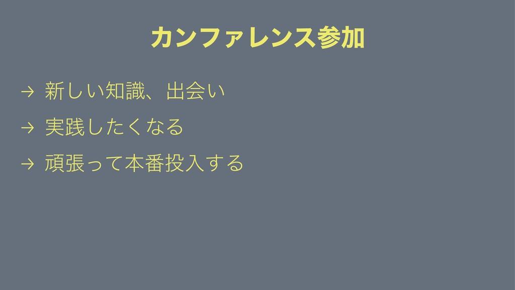 ΧϯϑΝϨϯεՃ → ৽͍ࣝ͠ɺग़ձ͍ → ࣮ફͨ͘͠ͳΔ → ؤுͬͯຊ൪ೖ͢Δ