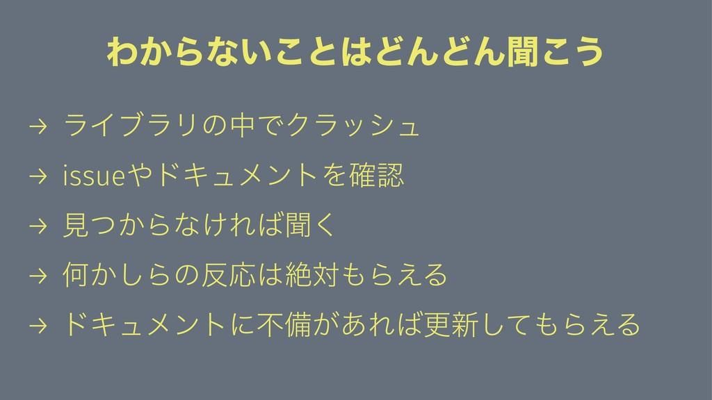 Θ͔Βͳ͍͜ͱͲΜͲΜฉ͜͏ → ϥΠϒϥϦͷதͰΫϥογϡ → issueυΩϡϝϯτΛ...