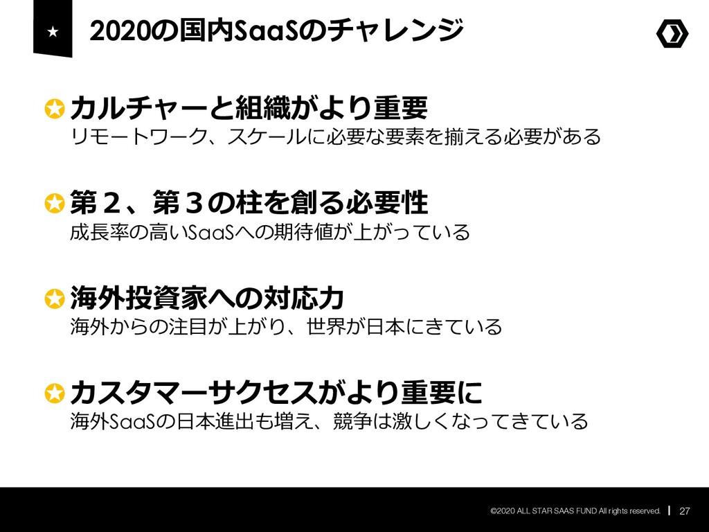 2020の国内SaaSのチャレンジ 27 ©2020 ALL STAR SAAS FUND A...
