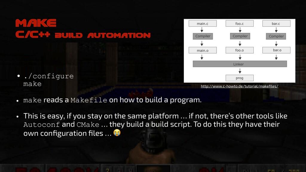 make C/C++ build automation • ./configure make...