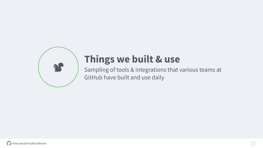 How people build software Things we built & use...