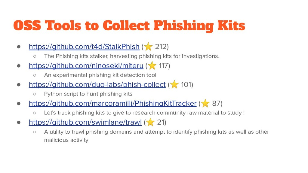 OSS Tools to Collect Phishing Kits ● https://gi...