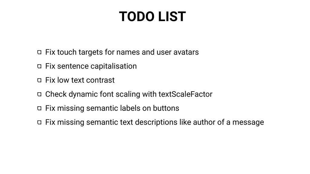TODO LIST Fix touch targets for names and user ...